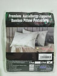 Super Soft Bamboo Cooling Pillow Protectors Standard 2 Pack