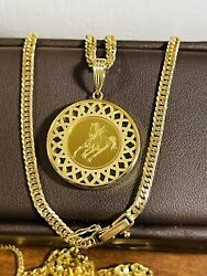 K18 Japan Fine Gold 1 Pc.horse Queen Reversible With Necklace 16/40cm 3mm 15.9g