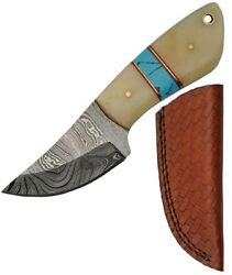 Damascus Fixed Blade Knife 2.75 Damascus Steel Blade Natural Smooth Bone Handle