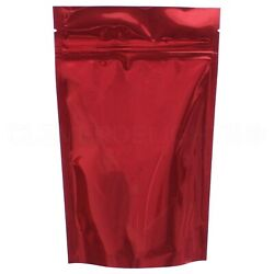 Glossy Red Stand Up Pouches - 4oz - 5 X 8 X 2.5 - Resealable Zip Pouch Bags