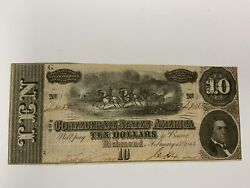 T-68-1864 10 Confederate Paper Money Cr-540a Missing Right Plate Letter Error