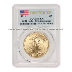 2016 50 Gold Eagle Pcgs Ms70 First Strike American Bullion 1 Oz Coin Flag Label