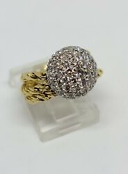 22k Yellow Gold And Platinum Natural Diamond Dome Flexible Ring Size 6 Msrp 5700