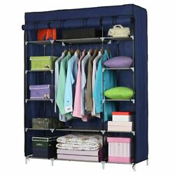 Ktaxon 53quot; Portable Closet Storage Organizer Wardrobe Clothes Rack with Shelves