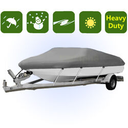 Premium Waterproof Boat Cover Trailer Fishing Ski Motorboat 17and039-19and039 / 20and039-22and039