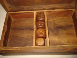 Old Wood Box/playing Cards 2 Deck Playing Box 4 Dice Wood Limited Metal