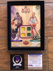 Magic And Bird Signed Upper Deck Nba Combo Relic Supreme Hard Court Patch Psa Bas