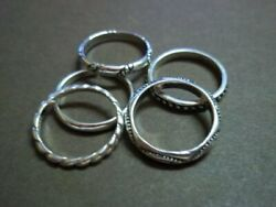 Silpada Sterling Silver Set Of 5 Stackable Band Rings R0593 Size 6