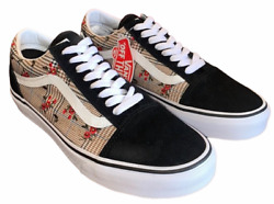 Old Skool Glen Plaid Floral Black Embroidery Shoes Womenand039s Sz 8 New ⭐️