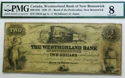 12 Known . 1859 Westmorland Bank Of New Brunswick 2 . Pmg 8 .best Known Pmg