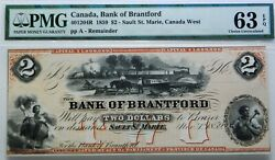 Canada, Bank Of Brantford, 2 1859 - Sault St. Marie, Pmg 63 Choice Uncirculated