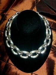 18 Sterling Silver Heavy Solid X-l Open Link Chain Collar Necklace 284g