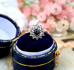 Vintage 1984 9ct Yellow Gold Dark Blue Sapphire And Diamond Cluster Ring / Size I