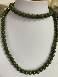 Vintage Pure Natural Green Jade Beads Necklace
