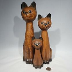 Set Of 3 Carved Solid Wood Cat Figures Hand Painted Tall Skinny Smiling Figurine
