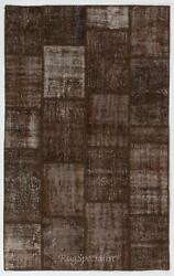 Brown Color Handmade Patchwork Rug Made From Over-dyed Vintage Carpets