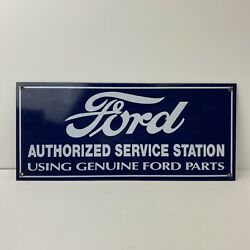 Vintage Porcelain Ford Authorized Service Station Using Genuine Ford Parts Sign