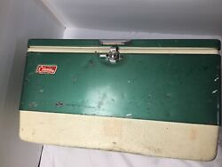 Vintage Coleman Green Metal Band Top Cooler Ice Chest 1960's 70's Latch Bottle