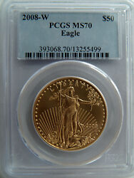 1 Oz 50 American Gold Eagle 2008-w Burnished Pcgs Ms70 393068.70/13255499