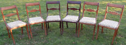 Lot Of 6 Vintage 1930s Americana Charlotte Chair Co Dining Chairs Mahogany 1302