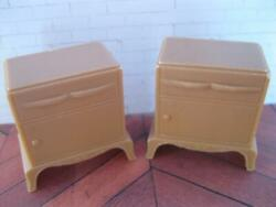 Vintage Arista 1950s Plasco Tan/beige Pair Living Room End Table Night Stands