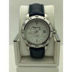 Mont Blanc Sport Auto Menand039s White Dial Leather Strap Watch 7145