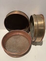 3 Piece Brass Copper Foundary Sand Sifter/tester By Greening