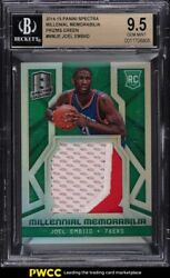 2014 Panini Spectra Millenial Green Prizm Joel Embiid Rookie Rc Patch /5 Bgs 9.5