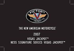 Victory Owners Manual Book 2007 Ness Signature Series Vegas Jackpot