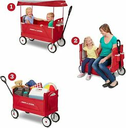 Radio Flyer 3-in-1 Ez Folding Outdoor Collapsible Wagon For Kids And Cargo Red