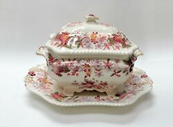 3 Pc Copeland - Spode Aster Red Gadroon China Covered Tureen W/ Underplate