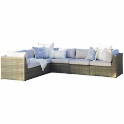 Bowery Hill Rattan 6 Piece Sectional Outdoor Patio Set In Gray