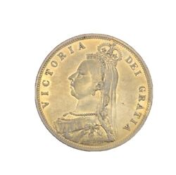 Great Britain 1887 Queen Victoria Half Crown Silver Coin Lightly Circulated
