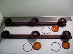 1 Lot Of 2 Vintage 3 Lamp Cab Marker Light Bars For Parts 3 Glass Lenses Used