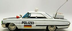 Vintage Japanese Tin Friction Ford Galaxie 500 German Polizei Battery Op Car