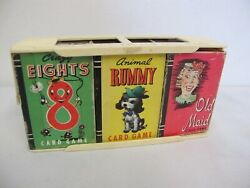 Treasure Kit Of Card Games Whitman Snap Authors Hearts Eights Rummy Old Maid