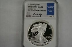 2020-s Silver American Eagle 1 Ngc Pf70 Ultra Cameo Edmund Moy Signed