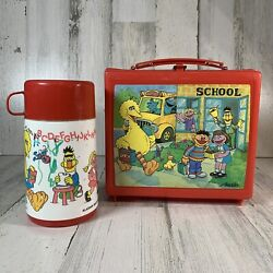 Vintage 1970's Sesame Street Muppets Lunch Box With Matching Thermos By Aladdin