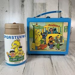 Vintage 1970's Sesame Street Muppets Blue Lunch Box With Thermos By Aladdin