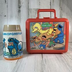 Vintage 1970's Sesame Street Muppets Red Lunch Box With Thermos By Aladdin