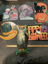 Vintage Luhrs Beistle And Other Cintage Halloween Thanksgiving Die-cut Decorations