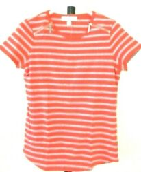 Michael Kors Women's Coral Reef Striped Shoulder Zipper Top Size Small NWT $69.5 $17.50
