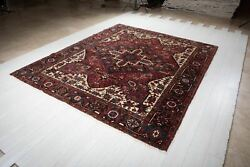 Collectible Large Vintage Area Rug Red 9' X 7' 8 Geometric Tribal Carpet Square