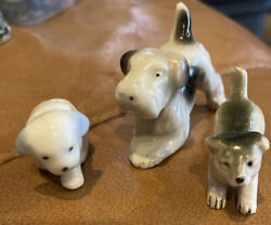 3 Vintage Assorted Miniature Dogs Small Made In JAPAN
