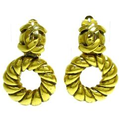 Auth Gold Hardware Clip On Earrings