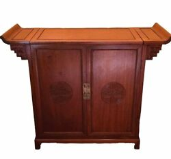 Mid Century Chinese Rosewood Dry Bar Liquor Cabinet Asian Wood