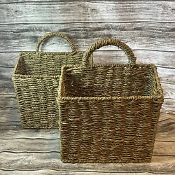 Set Of 2 Hanging Seagrass Wall Baskets Square Rectangular 10x4x9.5