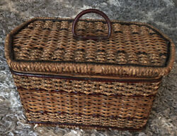 1870's Wooden Sewing Basket W/ Music Box Pink Satin Lining Handmade In Germany