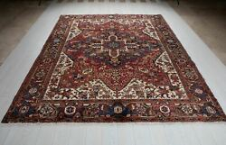 Vintage Collectible Tribal Area Rug Red 9' 1 X 7' 6 Large Oriental Carpet 8x9