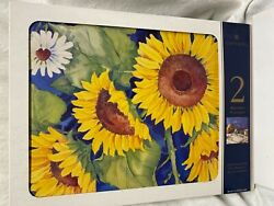 """Pimpernel Placemats Set Of 4 Sunflowers England  16"""" X 12"""" New"""